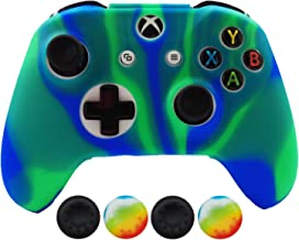 Hikfly Silicone Controller Cover Skin Protector Case Faceplates Kits for Xbox One X/One S/Slim Controller with 4pcs Thumb Grips Caps(Bluegreen)
