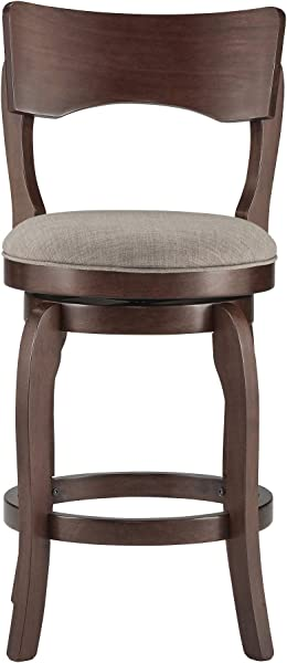 Inspire Q Lyla Swivel 24 Inch Brown Counter Ight Barstool By Classic Grey