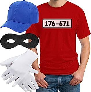 Shirtgeil Panzerknacker Banditen Bande Herren Kostüm Shirt  MÜTZE  Maske  Handschuhe T-Shirt