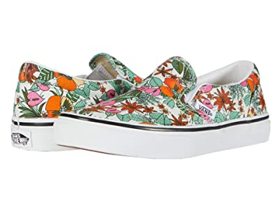 Vans Kids Classic Slip-On (Little Kid) ((Multi Tropic) Bit of Blue/True White) Girls Shoes