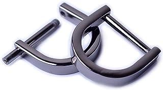 Bobeey 4pcs 3/4'' Black Gun U Shape Horseshoe D-Rings,Screw in Shackle D Ring for Buckle,Belt Clasps,DIY Leather Craft Acc...