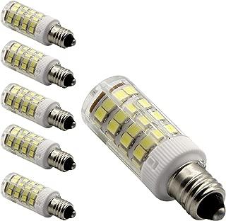 E11 led light bulb 50W 75W halogen bulbs equivalent, 450lm, e11 mini candelabra base 110V 120V 130V input 50W 75W halogen bulbs replacement, Daylight white pack of 5 (Daylight White 6000K)