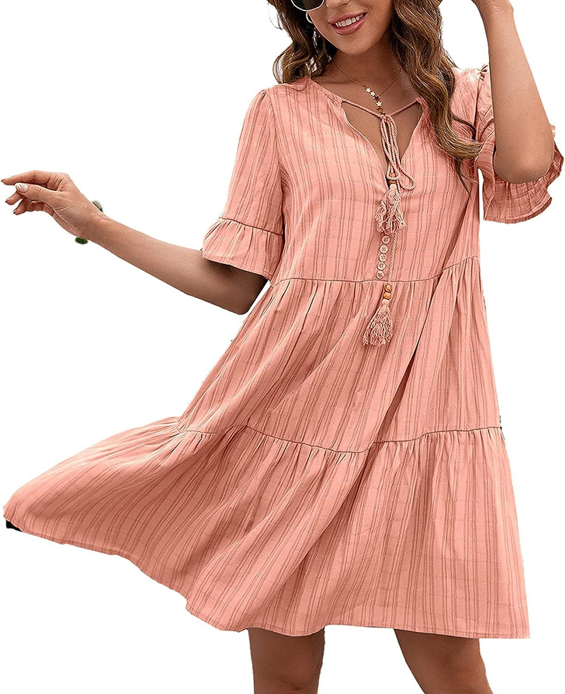 Listenwind Women Summer Tunic Dresses Casua Ruffle Philadelphia Mall Sleeve V Neck NEW before selling ☆