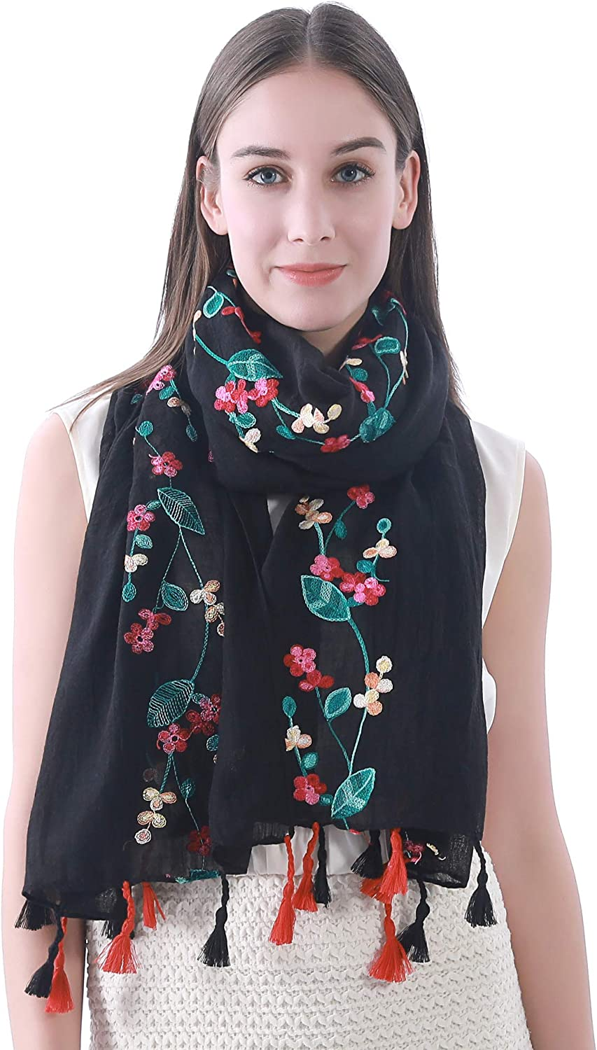 Lina & Lily Embroidered Floral Tassel Scarf Shawl Lightweight