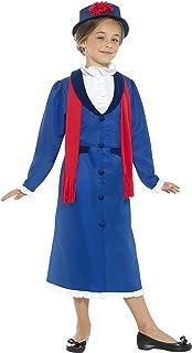 Smiffy's Smiffys-45625L Disfraz de niñera época Victoriana, con Vestido, Sombrero y Bufanda, Color Azul, L - Edad 10-12 años 45625L