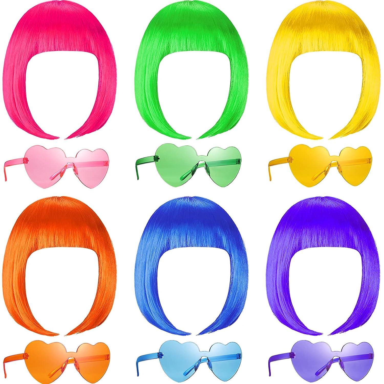 12 Pieces Party Wigs and Sunglass Hair Ranking TOP19 Neon Bob Short Set Atlanta Mall