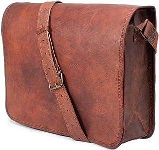 """11"""" Small Leather Messenger Bag Shoulder Bag Cross Body Vintage Messenger Bag for Women & Men Satchel Man Purse competible..."""