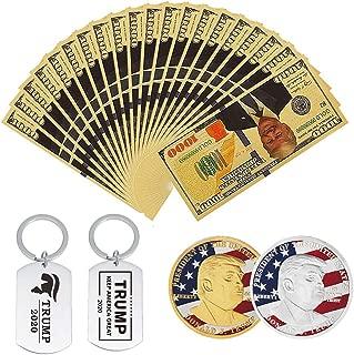 SUSHAFEN 12Pcs 2020 President Donald Trump Collection Gift Include 8Pcs Donald Trump Gold Foil 1000 Dollar Bill Banknotes+2Pcs Donald Trump Keychains+2Pcs Donald Trump Commemorative Coins