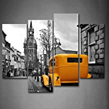 A Car in The Old Street and The Clock Tower London Wall Art Painting Pictures Print On Canvas Car The Picture for Home Mod...