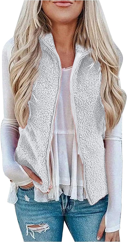 ODJOY-FAN Womens Vest Winter Warm Outwear Casual Coat Jacket Lightweight Vest Faux Sherpa Zip Up Waistcoat with Pockets