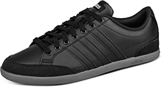 Adidas Caflaire Side-Stripe Back-Logo Lace-Up Tennis Sneakers for Men - Core Black and Grey Five, 43 1/3 EU