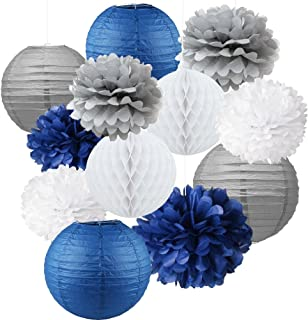 12pcs Mixed Navy Blue Gray White Party Tissue Pom poms Flower Hanging Paper Lantern Honeycomb Balls Nautical Themed Vintage Wedding Birthday Baby Shower Nursery Decoration