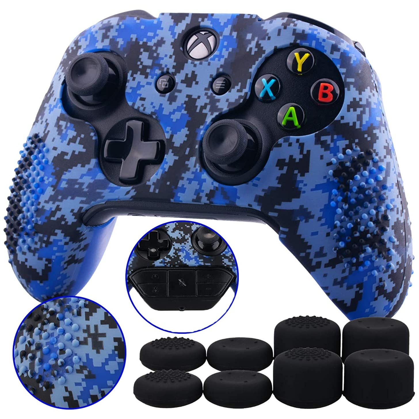 9CDeer 1 Piece of Studded Protective Customize Digital Camo Silicone Cover Skin Sleeve Case 8 Thumb Grips Analog Caps for Xbox One/S/X Controller Blue Compatible with Official Stereo Headset Adapte