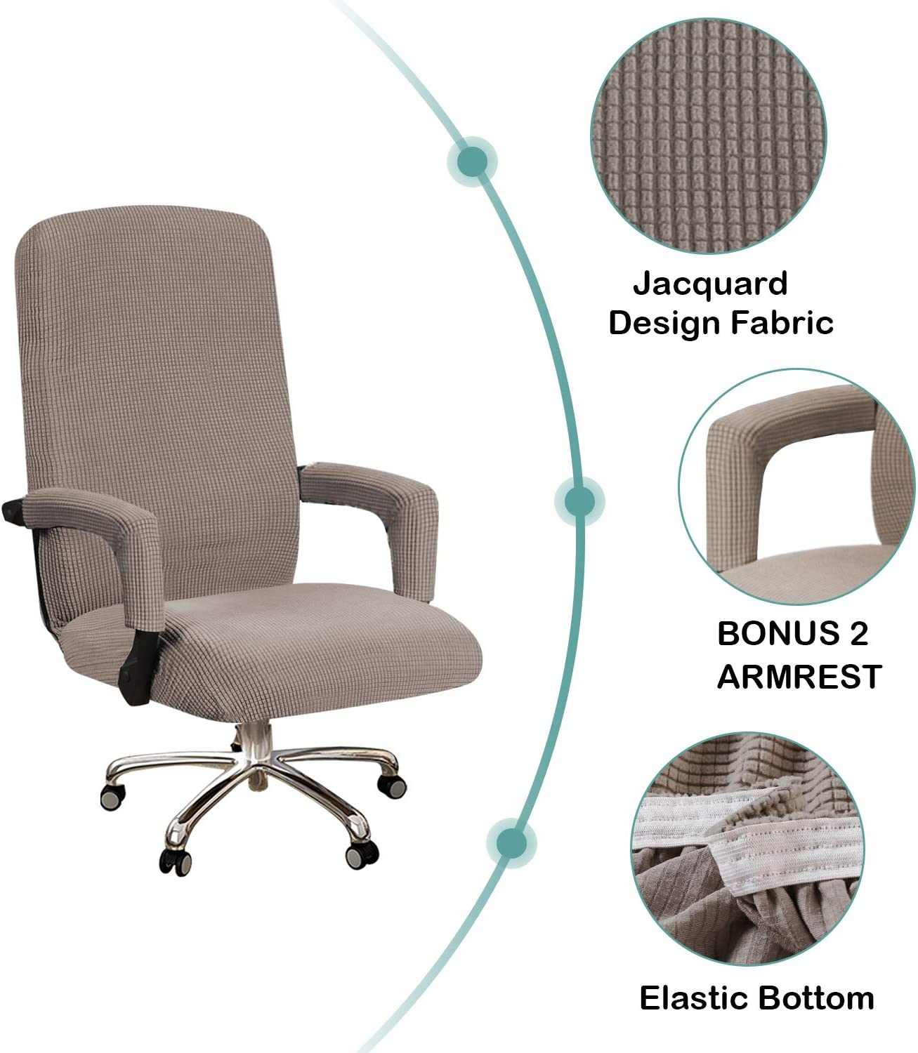 Large, Taupe BellaHills High Stretch Office Chair Cover Spandex Chair Cover for Office Chair Computer Office Chair Covers High Back Feature Checked Jacquard Fabric Modern Simplism Style