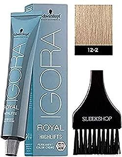 Schwarzkopf IGORA Royal HIGHLIFTS Permanent Hair Color Creme (with Sleek Tint Applicator Brush) Haircolor Cream (12-2 Special Blonde Ash)
