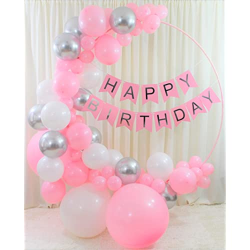 Qutechat Happy Birthday Decorations for Women and Girls - 88 Pink, White, and Silver Balloons - Lovely Banner with White Ribbon - DIY Tool Kit for Balloon Arch Garland - Party Supplies for All Ages