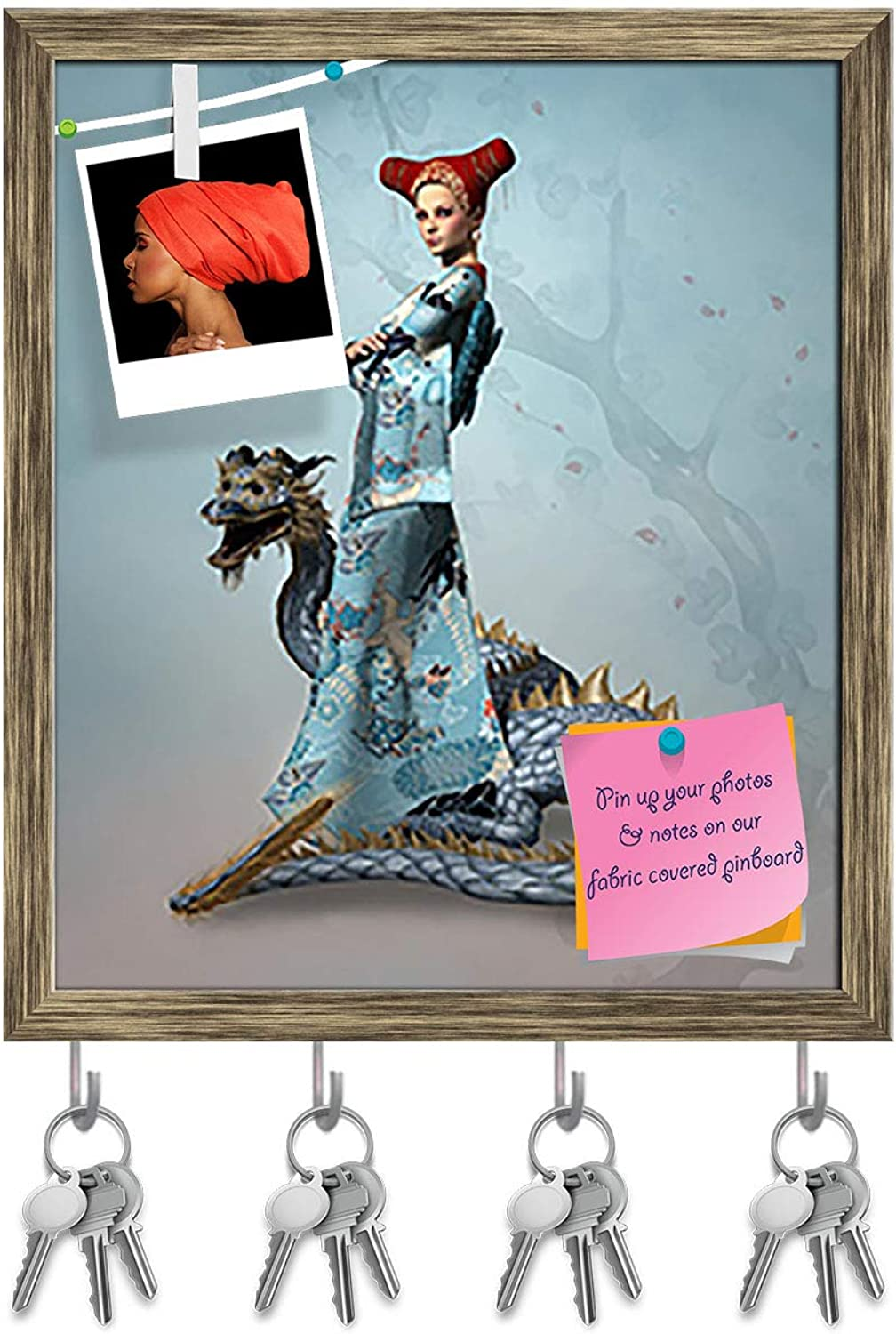 Artzfolio Eastern Woman with Dragon Key Holder Hooks   Notice Pin Board   Antique golden Frame 16 X 18.7Inch