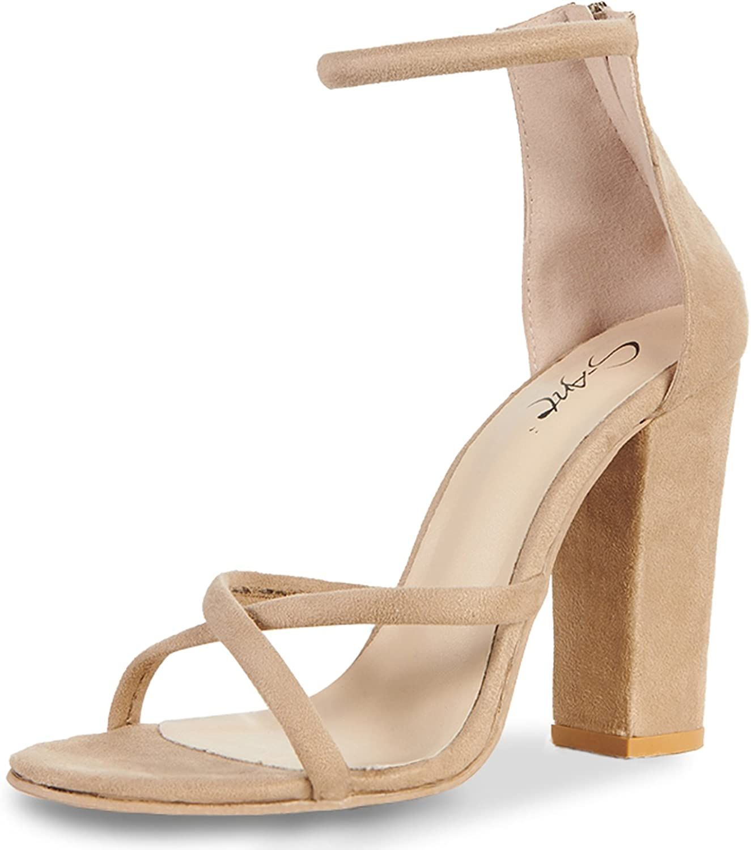 JSUN7 Women's Chunky High Heel Sandals Sexy Strap Design Block Sandal Stiletto Heels Fashion Party shoes for Women