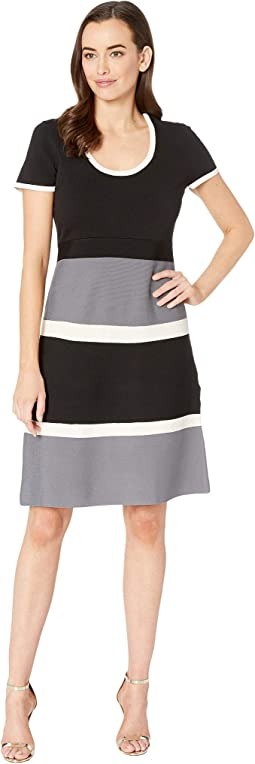 Color Block Fit & Flare Sweater Dress