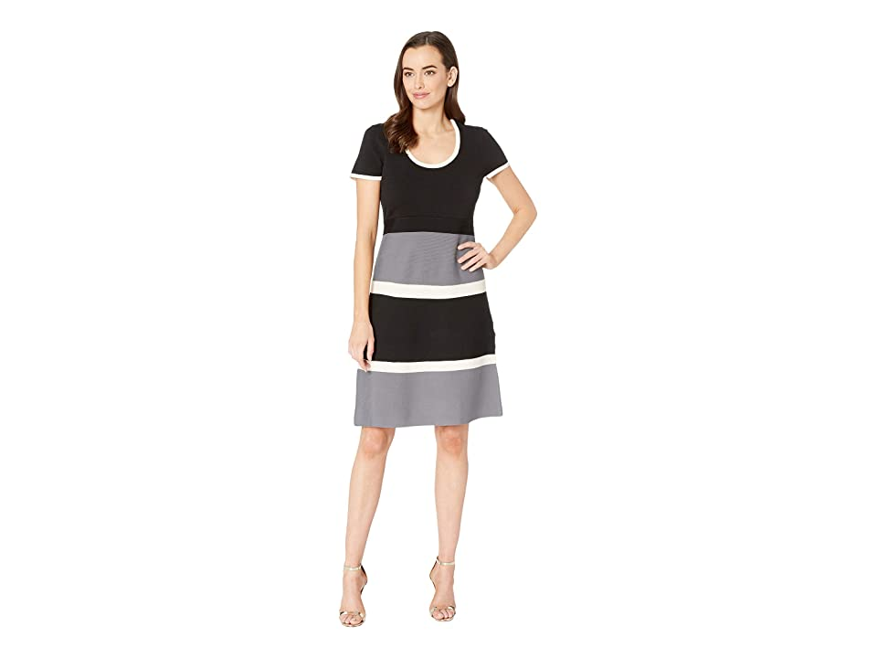 Anne Klein Color Block Fit Flare Sweater Dress (Anne Black/Degas Grey Combo) Women