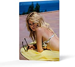 HB Art Design Brigitte Bardot Lying Nude on The Beach and Waves Splashing her Naked Body Colored Metal Wall Art Print Sexy French Icon Artwork Metal Wall Decor Home Decor Made in USA 24x16