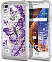 FINCIBO Case Compatible with LG Tribute HD LS676 X Style 5 inch, Dual Layer Hybrid Protector Cover TPU Rhinestone Bling for LG Tribute HD LS676 (NOT FIT LG Tribute 4.5 inch) - Purple Butterfly (2)
