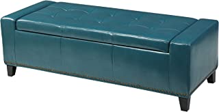 Christopher Knight Home Living Robin Studded Teal Leather Storage Ottoman Bench