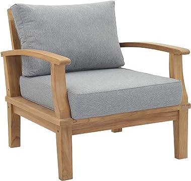 Modway EEI-1143-NAT-GRY-SET Marina Premium Grade A Teak Wood Outdoor Patio Armchair, Natural Gray