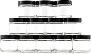 2-Ounce Clear Glass Cosmetic Jars (12-Pack); Straight-Sided Containers for Balms, Creams, Lotions, and Scrubs