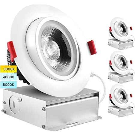 Luxrite 4 Inch Adjustable Gimbal Eyeball Led Recessed Lighting Kit 3 Color Selectable 3000k 4000k 5000k 11w 75w 1000 Lumens Dimmable Canless Led Downlight Ic Rated Damp Rated 4 Pack Amazon Com