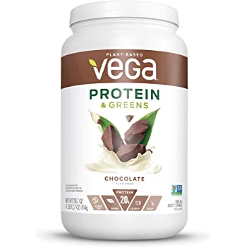Vega Protein & Greens Chocolate (25 Servings, 28.7 Ounce) - Plant Based Protein Powder, Keto-Friendly, Gluten Free, Non Dairy, Vegan, Non Soy, Non GMO, Lactose Free  - (Packaging May Vary), Large Tub