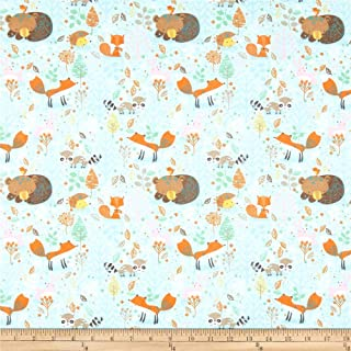 A.E. Nathan Comfy Flannel Print Woodland Animals Turquoise Fabric Fabric by the Yard
