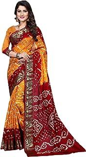 Indian yellow red Bandhej Art Silk Zari weaving Festival Bandhani Printed Saree Blouse Sari 6316