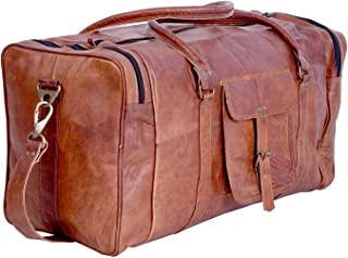 KPL 21 Inch Vintage Leather Duffel Travel Gym Sports Overnight Weekend Duffle Bags for Men and Women