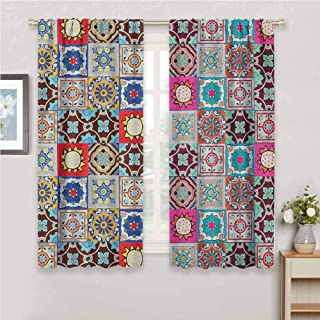 GUUVOR Moroccan All Season Insulation Collection of Ceramic Mosaic Tiles and Figures with Mathematical Geometric Artful Noise Reduction Curtain Panel Living Room W72 x L72 Inch Multicolor