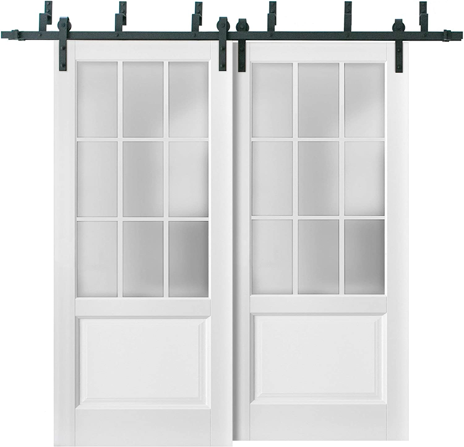 Sliding Closet Frosted New arrival Glass 9 Max 50% OFF Lites Barn Bypass Doors 84 i 56 x