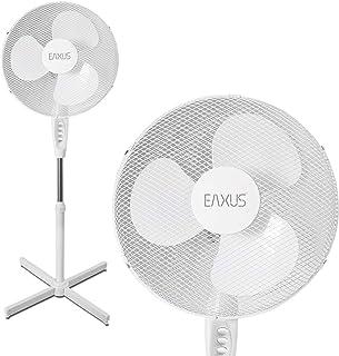 Eaxus - Ventilador de pie silencioso (40 W, 3 velocidades, altura regulable hasta 1,25 m), color blanco