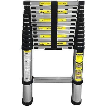 Eaxus® ️ Escalera telescópica de aluminio de 3,8 metros, máx. 150 kg de resistencia. Escalera extensible DIN EN 131, escalera plegable, escalera multiusos (3,8 m): Amazon.es: Bricolaje y herramientas
