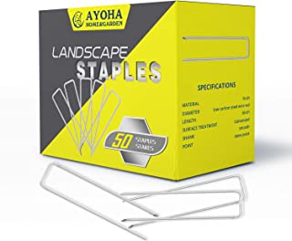 AYOHA 50 Pack Galvanized Landscape Staples 6 Inch, 11 Gauge, Sturdy Rust Resistant Gardening Supplies Garden Staple for Install Artificial Grass, Securing Ground Cover, Soaker Hose, Lawn, Dog Fence