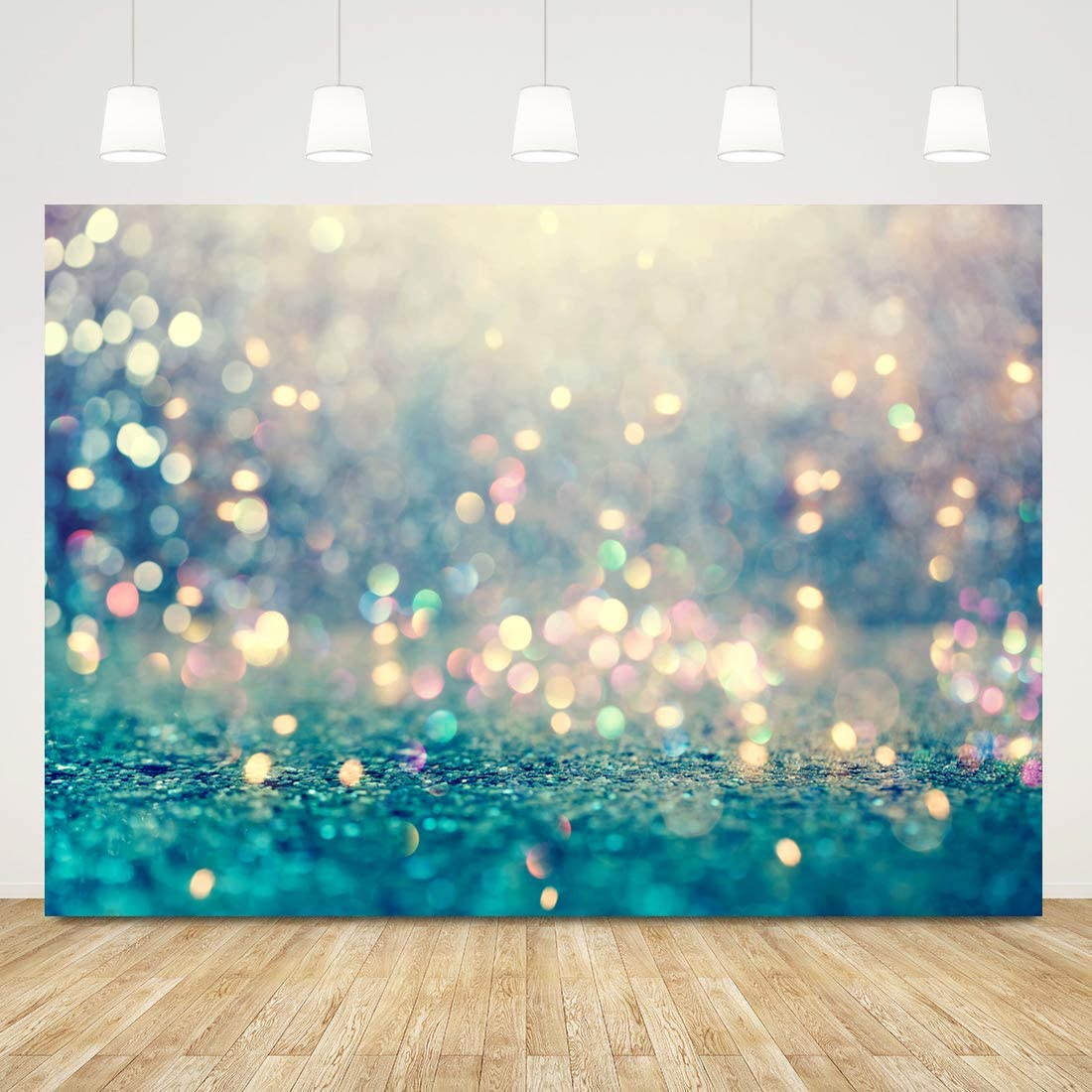 Sensfun Vinyl Photography Background Sparkle Gold Glitter Teal Bokeh Halos Bridal Shower Party Decor Photo Backdrop Baby Portrait Studio Props 10ftx6.5ft
