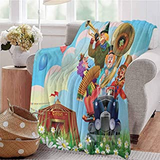 Luoiaax Circus Children's Blanket Clowns Vintage Car Circus Big top Daisies Flowers Heart in Meadow Fun Design Art Lightweight Soft Warm and Comfortable W57 x L74 Inch Multicolor