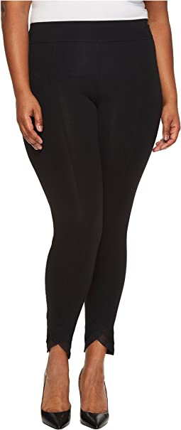 HUE - Plus Size Mesh Trim Cotton Leggings