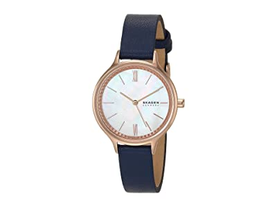 Skagen Anita Three-Hand Watch (SKW2864 Rose Gold Blue Leather) Analog Watches
