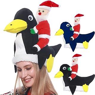 Camlinbo 2 Pack Plush Penguin Christmas Hats Santa Hats Cap Xmas Ugly Sweater Theme Funny Party Hats Christmas Costume Hol...