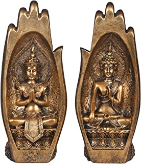 NBHUZEHUA Buddha Sitting in Hand Statue Resin Lao Thai Buddhist Figurines Home Decor Zen Buddah Gold