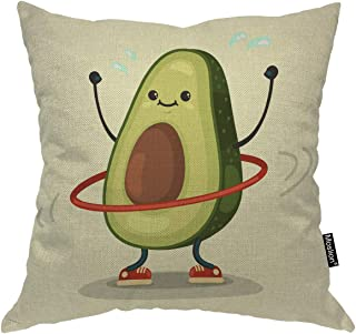 Moslion Fruit Throw Pillow Case Cute Avocado Doing Exercise with Hula Hoop Pillow Cover Decorative Square Cushion Accent Cotton Linen 20x20 Inch for Sofa Chair Green