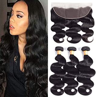 VTAOZI Brazilian Body Wave 3 Bundles with Frontal Lace Closure 100% Unprocessed Virgin Human Hair Bundles with 13x4 Ear To Ear Lace Frontal Closure Natural Color (10 12 14 with 10 Frontal)