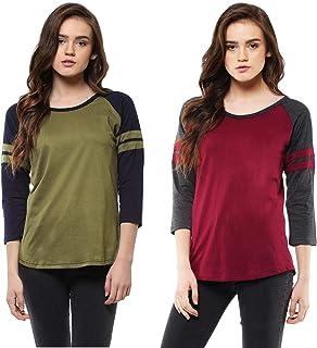 Veirdo 100% Cotton Solid Round-Neck 3/4 Sleeve T-Shirt for Women/Girls - Combo (PO2)
