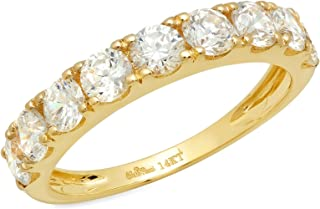1.7 Ct Round Cut Pave Set Promise Wedding Engagement Band Bridal Anniversary Ring 14K Yellow Gold