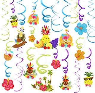 Phogary 30PCS Hawaiian Party Supplies Tropical Decorations Hanging Swirl, Purple & Green & Blue Hanging with Pineapple Flamingo Hibiscus Ornaments Ceiling and Door Foil Decoration for Summer Party
